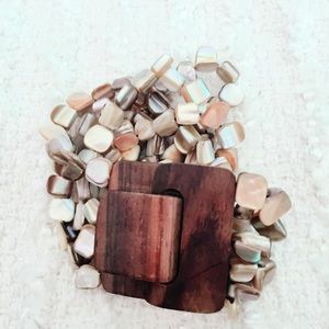 Faux Shell Wood Bracelet Taupe